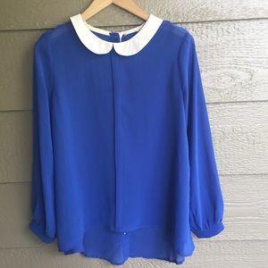 BLVD blue button back blouse top